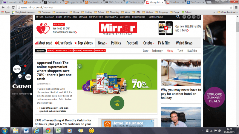 Picture of a screen grab of the Mirror Money Online website, showing the article I wrote on Approved Food.