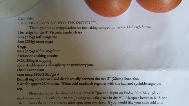 Picture of the Victoria sponge recipe for the Hadleigh WI Baking competition