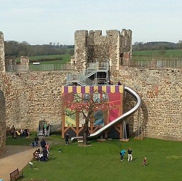 Picture of the slide at Franlingham Castle, after we saved money with English Heritage Membership