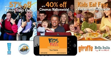 Picture of Kids Pass with example of discounts available like money off Days Out, Cinemas and Restaurants
