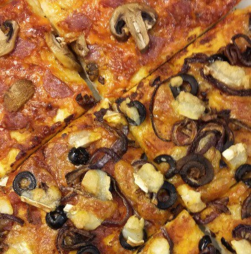 A picture of pizza, after I used discount codes and a Zeek gift voucher for a frugal meal at pizza express