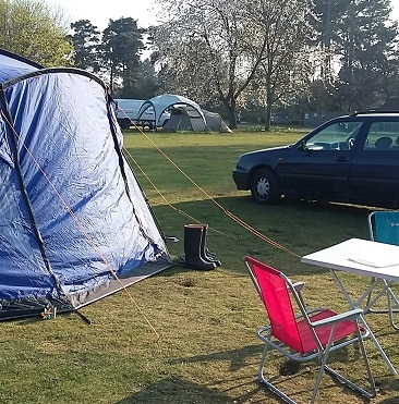 Picture of our tent on the Rendlesham Forest campsite on a frugal comping trip, one of our five frugal things this week
