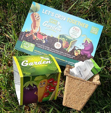 Picture of a sticker collection card from East of England Co-op Let's Grow Together campaign with free beetroot seed mat in a pot with soil disc and plantmarker