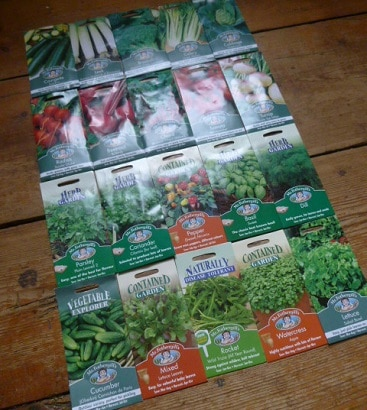 Picture of 20 packets of seeds that came free with a special offer subscription to Kitchen Garden magazine