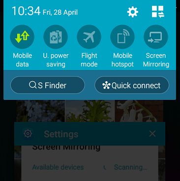 Screen shot of a Samsung smartphone menu showing the mobile data button in green, which I should switch off when on wifi