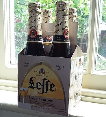 Picture of a four pack of Belgian beer Leffe Blond on my windowsill, after I got money off using Shopmium, the supermarket cashback app.
