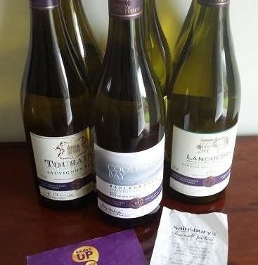 Picture of 6 bottles of wine bought with Nectar points during a previous Sainsbury's Double Up promotion