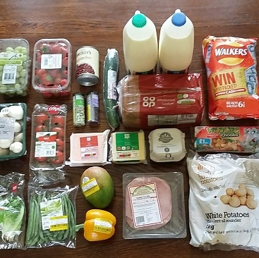 Picture of all my shopping from East of England Co-op sourced Locally fortnight laid out on the table