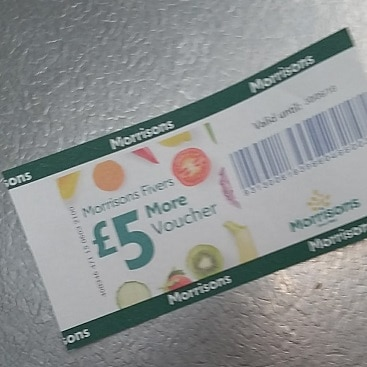 Picture of a £5 Morrisons More card voucher I used to save money on our food shopping this week
