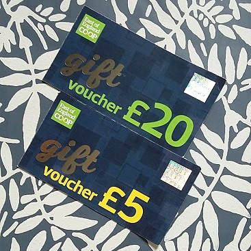Picture of £25 in gift vouchers after winning an East of England #SourcedLocally fortnight competition