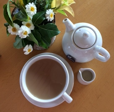 Picture of teapot, cup and saucer and milk jug by flowers, when I got tea for two free with a National Trust voucher