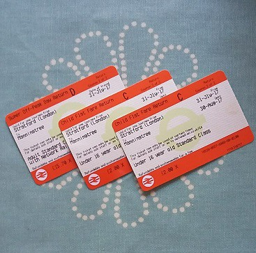 Photo of train tickets using the bargain Greater Anglia £2 child return ticket offer