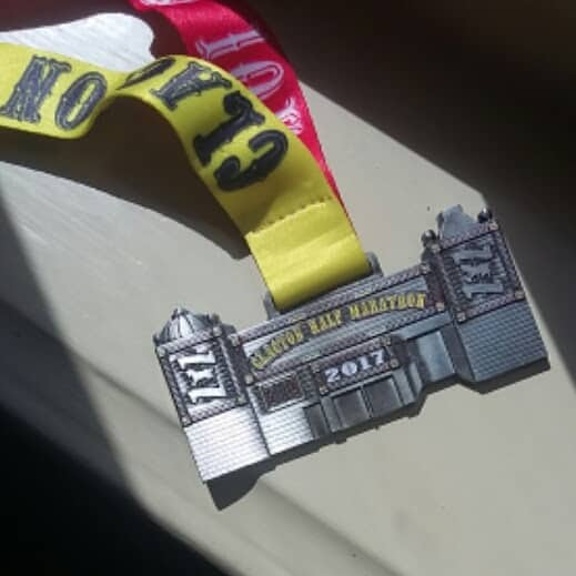 Picture of my medal from the Clacton 10K after running my first 10K race