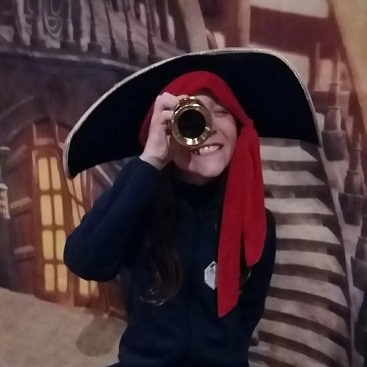 Picture of my daughter posing as a pirate in Norwich Castle, as part of our #lettheadventurebegin trip with Greater Anglia