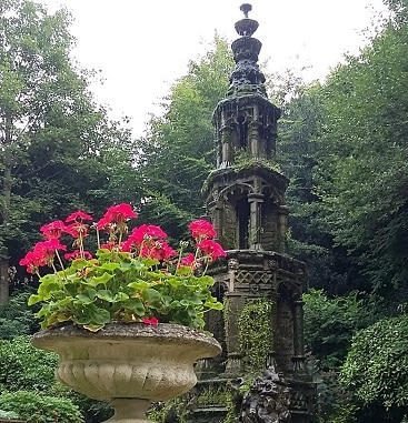 Picture of fountain and geraniums in Plantation Garden in Norwich