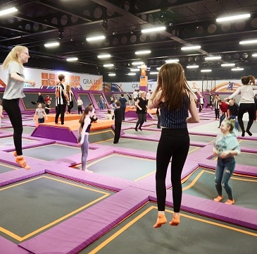 Photo from Gravity Norwich of the trampolines in action