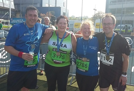 Picture of me with the three other Great East Run competition winners, just after we'd finished the half marathon