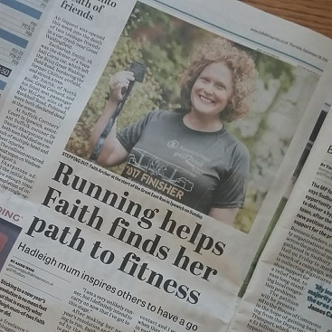 Picture of the Suffolk Free Press article about me taking part in the Great East Run, including a photo of me wearing my freebie medal and running top