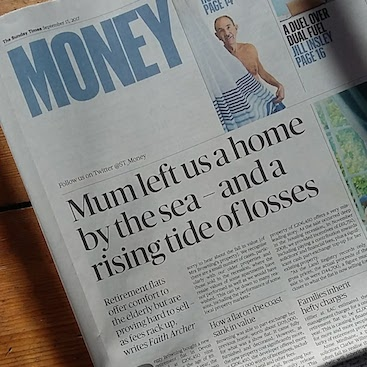 Picture of the Sunday Times money section and my article on buying new build retirement homes
