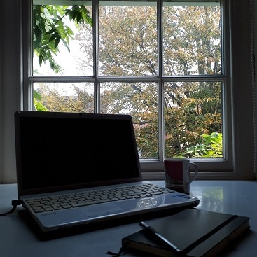 Picture of my laptop computer on my desk in front of the window, for a post about how to save money on your bills with Bean