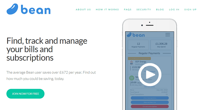 Picture of the home page of the Bean website, which helps find, track and manage bills and subscriptions