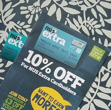 Picture of an NUS extra card and leaflet about discounts at the Co-op