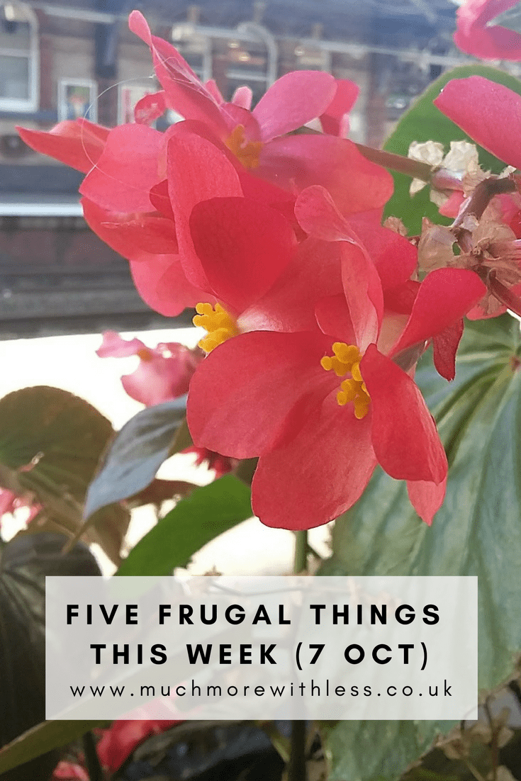 Five frugal things I've done this week (7 October 2017). Click the photo to find out how I've saved money