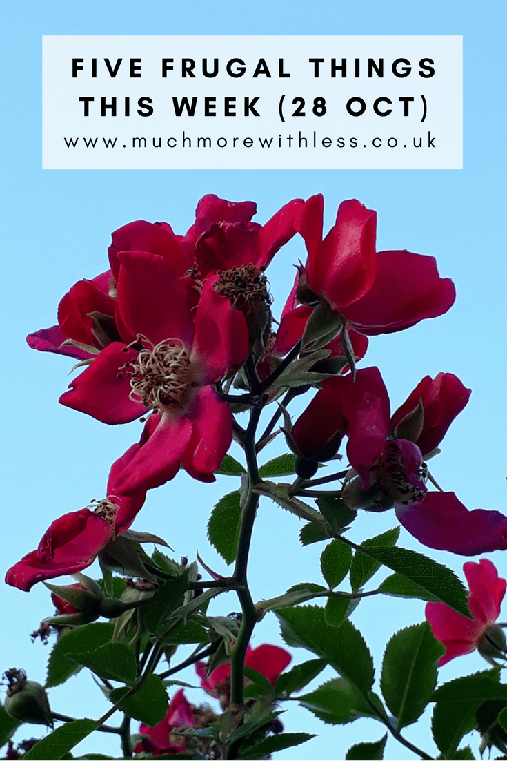 Pinterest size image of red roses against blue Suffolk skies with five frugal things for 28 Oct label