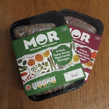Picture of two packs of MOR sausages, which I got paid to eat and review for Red WigWam