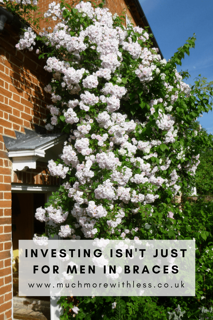 Pinterest size picture of roses growing over a door, for a post about Investing isn't just for men in braces