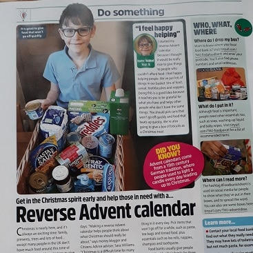 Picture of an article in The Week Junior about reverse advent calendars, including an interview with my daughter