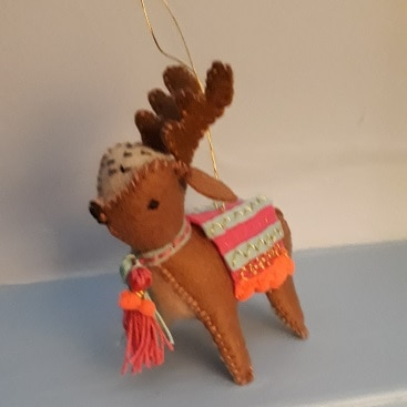 Picture of reindeer I made from a Mollie Makes kit for my 5 frugal things this week