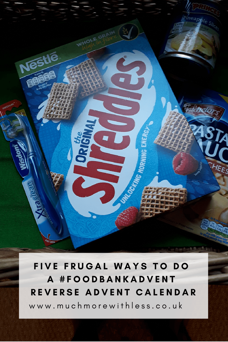 Pinterest size image of 5 frugal ways to do #fooddbankadvent reverse advent calendar, showing food in a basket