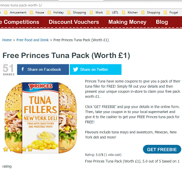 PIcture of screen grab from Latest Free Stuff website, with a free pack of Princes Tuna Sandwich Filler for FoodbankAdvent