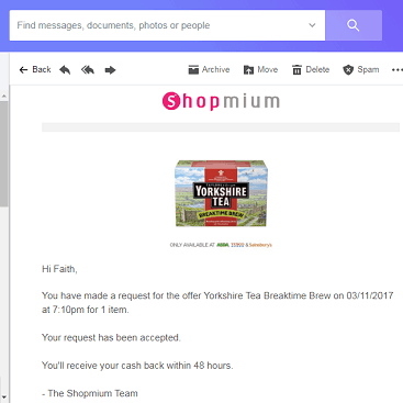 Picture of a screen grab of Shopmium cashback for tea bags for FoodBankAdvent reverse advent calendar