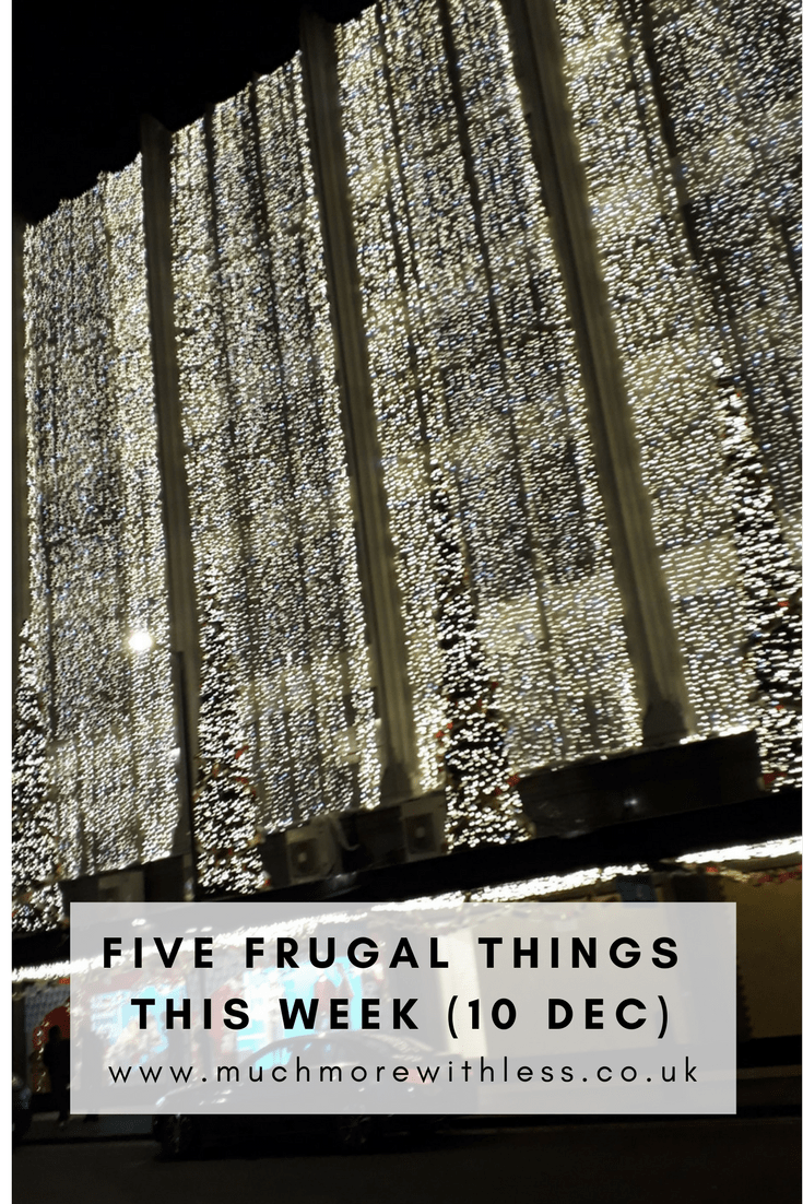 Pinterest size image of Christmas lights to illustrate my five frugal things post