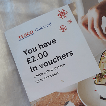 Picture of my £2 voucher letter from Tesco Clubcard for my 5 frugal things post