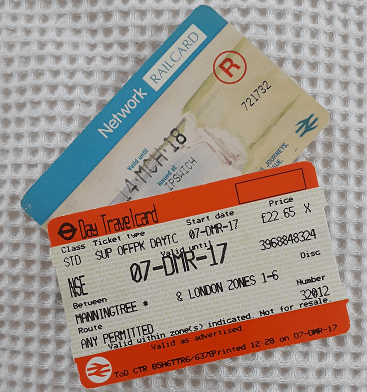 Picture of my Network railcard and travel card for my 5 frugal things post