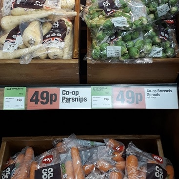 Picture of 49p a bag parsnips, brussel sprouts and carrots on offer at the Co-op