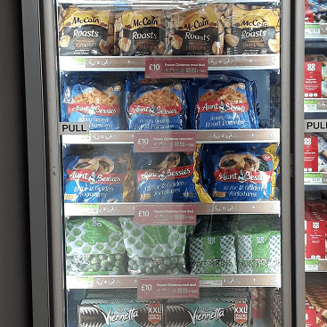 Picture of Co-op freezer cabinet with £10 Christmas frozen meal deal