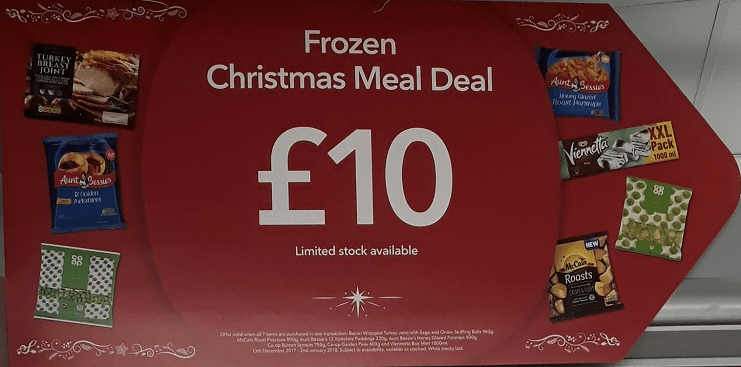 Picture of sign in the Co-op advertising £10 Frozen Christmas Meal Deal