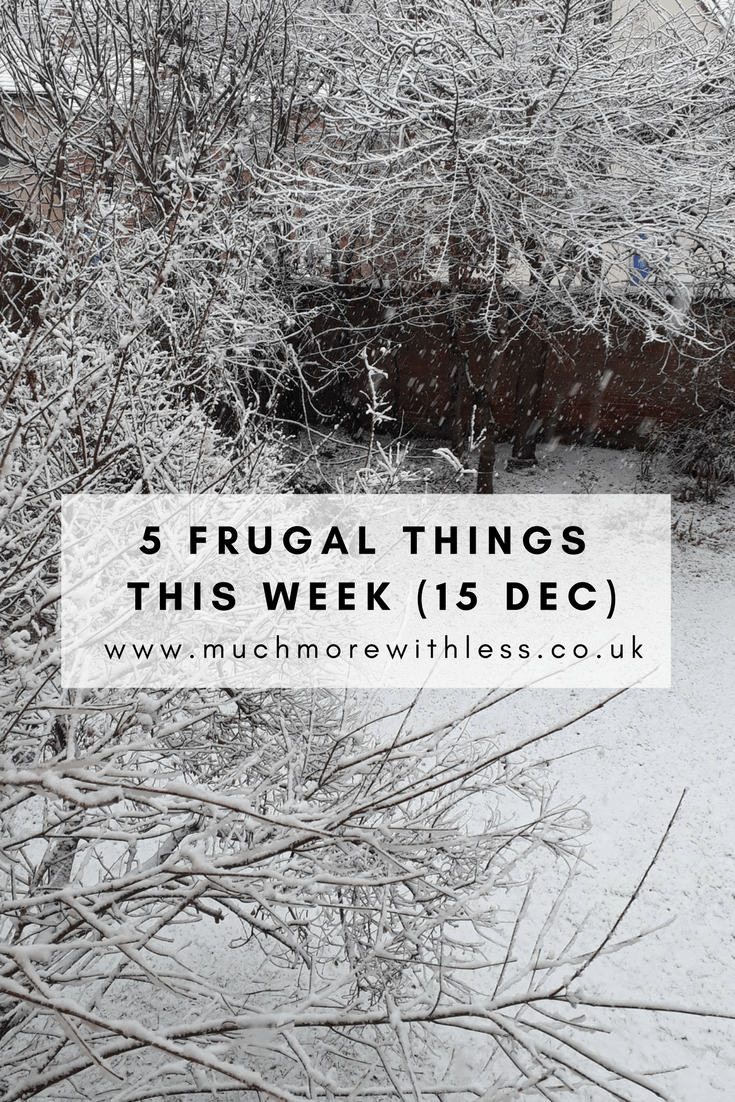 Pinterest size image of snow scene to illustrate my 5 frugal things this week post