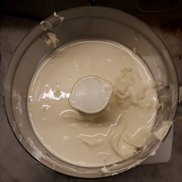Picture of double cream in a food processor when I made butter