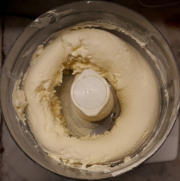 Picture of super thick cream in a food processor, when I made butter