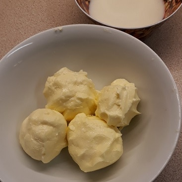 Picture of lumps of butter I squeezed to remove buttermilk when I made butter
