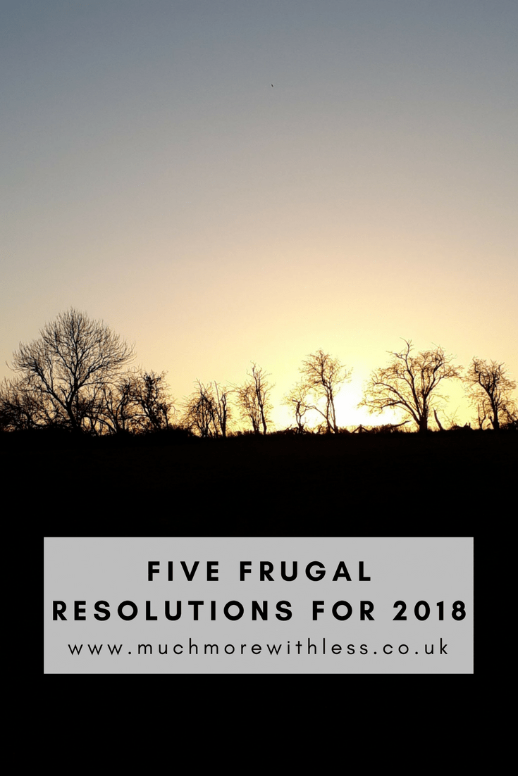 PInterest size image of a sunrise for my five frugal resolutions post