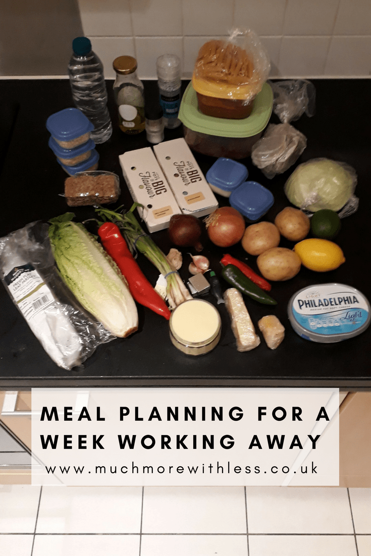 Picture of food I packed when meal planning for a week working away in a Pinterest sized image