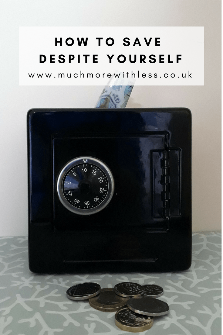 Pinterest size image of a safe money box with coins in front toillustrate a post on how to save despite yourself
