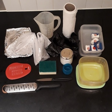 PItch of kitchen equipment and cleaning supplies I took when working for a week away