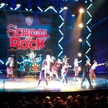 Picture of the finale of the musical School of Rock, which we saw on discount tickets
